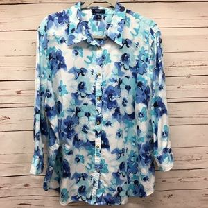 Chaps 3/4 Sleeve Button Top 3X Blue Teal White